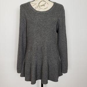 Lane Bryant Scoop Neck Gray Ribbed Sweater 18/20